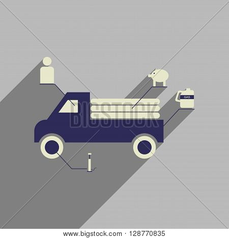 Flat web icon with long  shadow car infographics