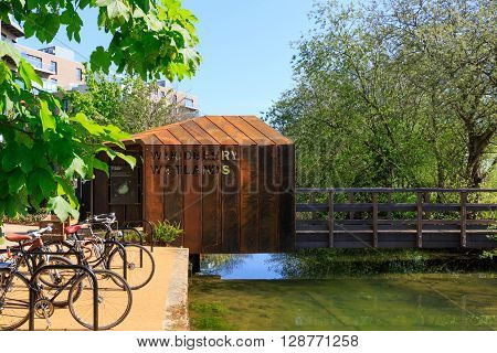 London, UK - May 4, 2016 - Entrance of newly-opened Woodberry wetlands nature reserve in London on a sunny day