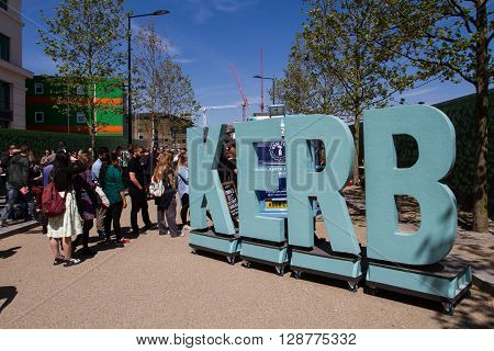KINGS CROSS, LONDON, UK - MAY 5, 2016. A pop up street food market known as The Kerb serving locals, tourists and workers in Kings Cross, London.