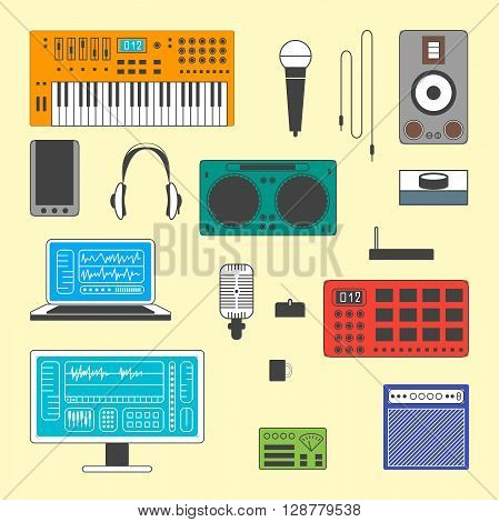 Colorful Set of Musician digital equipment. Vector Musician workspace elements in thin line style. Computer, headphones, sequencer, loudspeakers, microphone and combo isolated on white background.