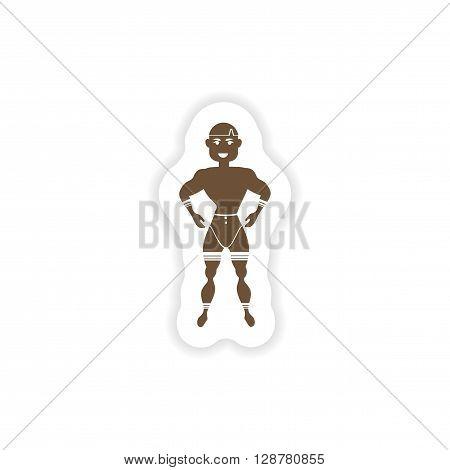 stylish paper sticker on white background carnival man