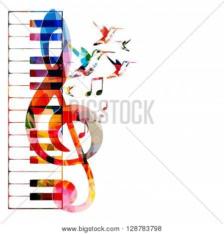 Vector illustration of colorful G-clef with keyboard