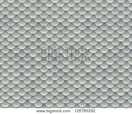 Silver fish scale texture or metal armor seamless pattern. Vector illustration.