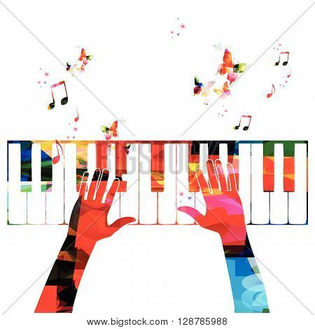 Colorful music background with piano. Vector illustration