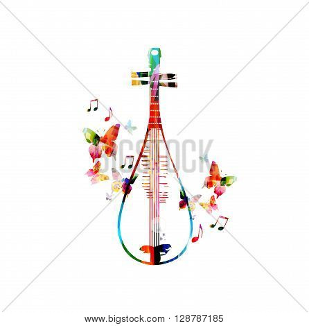 Colorful Chinese lute design with butterfly. Vector illustration