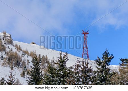 Winter Landscape Over Carpathian Mountains. Panorama Of Snow Mountain Range Landscape With Blue Sky,