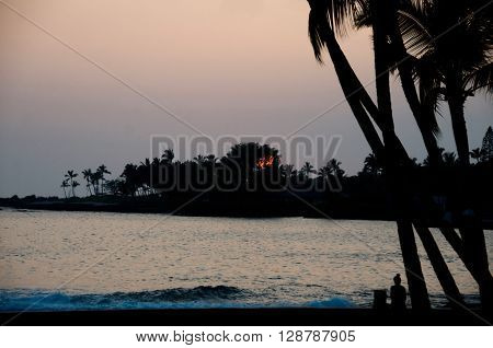 Beachgoer Watches Sunset Near Kailua Bay,