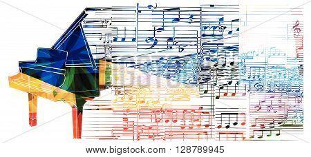 Colorful piano design. Music background. Vector illustration
