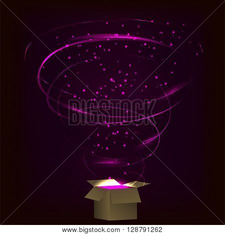 Magic box. Magic box with tornado fireworks. Magic box with circular plasma explosion. Magic box with sparkles. Box full of pink magic. Spell from magic box. Charming magic box.