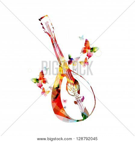 Vector illustration of colorful mandolin with butterflies