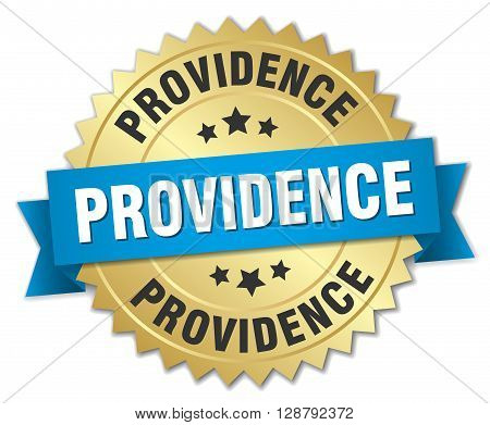 Providence round golden badge with blue ribbon