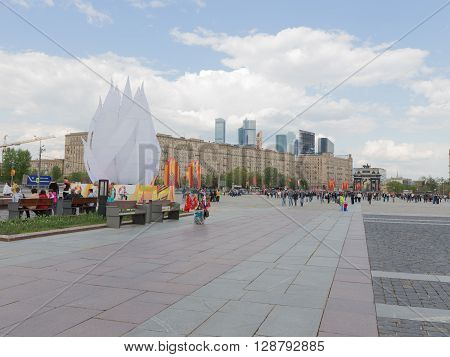Moscow - May 6 2016: A lot of people and tourists walking on territrorii Victory Park on Kutuzovsky Prospekt on Poklonnaya Hill May 6 2016 Moscow Russia