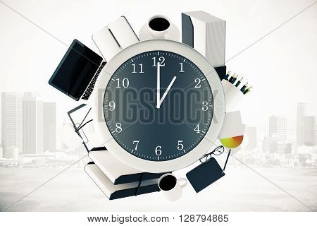 Office tools around big clock on misty city background. Time management concept. 3D Rendering