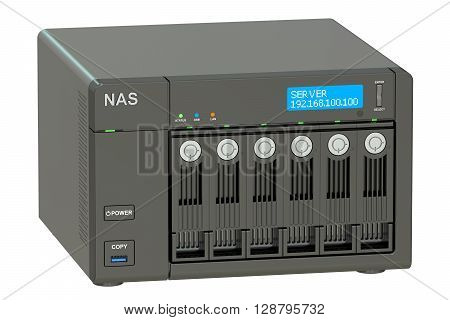 NAS with 6 disks 3D rendering isolated on white background