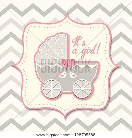 gray and pink vintage stroller on abstract chevron background in srapbooking style, baby shower, vector illustration, eps 10 with transparency