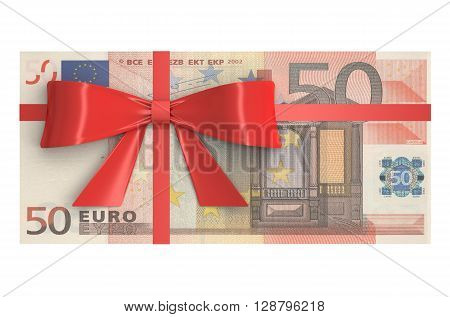 Wad of 50 Euro banknotes with red bow gift concept. 3D rendering