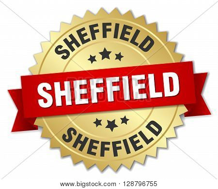 Sheffield round golden badge with red ribbon