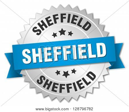 Sheffield round silver badge with blue ribbon