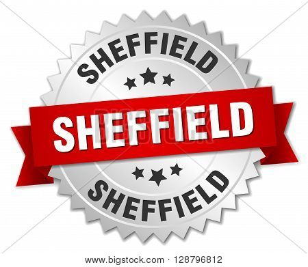 Sheffield round silver badge with red ribbon