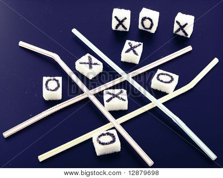 tic-tac-toe game on blue background