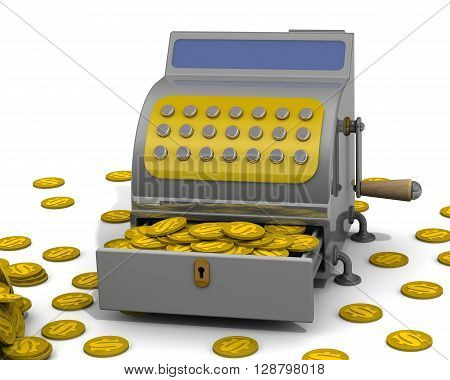 The open cash register filled with USA coins and a lot of coins on a white surface. The concept of financial success. 3D Illustration poster