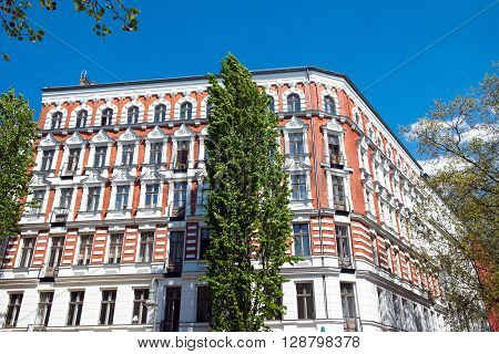 Nice restored residential building in Berlin, Germany