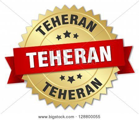 Teheran round golden badge with red ribbon