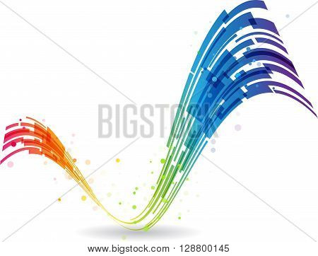 Check mark rainbow, colored sign, curved lines design