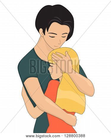 Young couple is hugging. Closing eyes. Vector illustration isolated on white