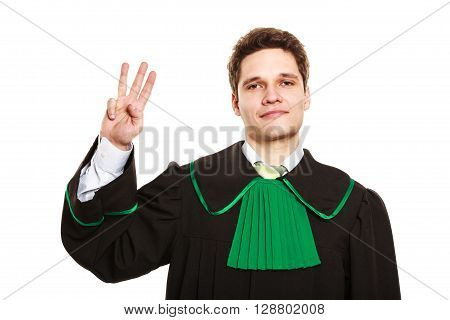 Male Lawyer Show Sign With Hand.