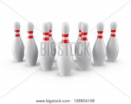 Group of Bowling Pins Isolated on White Background with shadow. 3D rendering. For logo, advertising, wallpaper, print etc. Front view with perspective