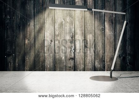 Concrete surface and aged wooden wall with tall turned on table lamp. Mock up 3D Renderin