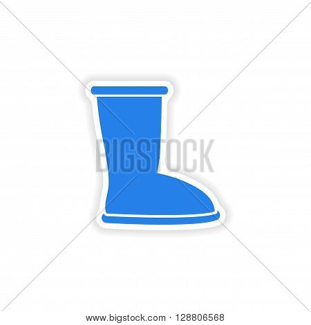 stylish paper sticker on white background ugg boots