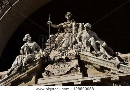 Statue of the Goddess of Justice at the old Palace of Justice in Rome built in a neo-baroque style at the end of 19th century