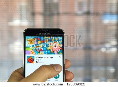 MONTREAL CANADA - APRIL 5 2016 : Candy Crush Saga on android device. Candy Crush Saga is a match-three puzzle video game released by King on April 12 2012