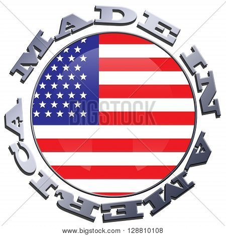 Illustration of a circular US flag with MADE IN AMERICA metallic lettering
