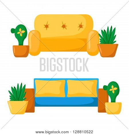 Vector sofa interior. Cartoon living room interior with sofa and houseplants. Vector illustration with front view sofa interior. Home relaxing. Isolated sofa interior. Cartoon furniture indoor design