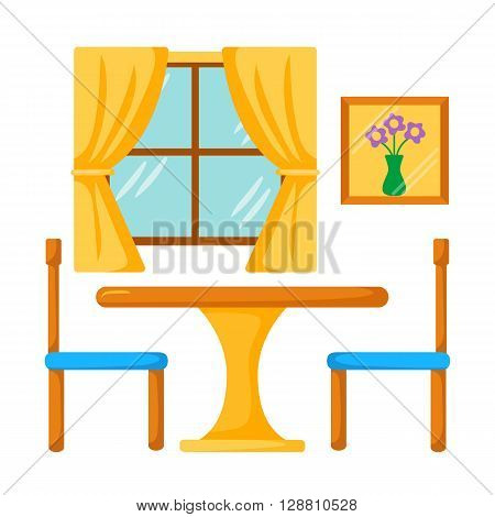 Vector dinner table with chairs. Dining room interior. Dining table and chairs illustration. Cartoon dining table with tablecloth. Dining room furniture: table chairs window. Dining room interior