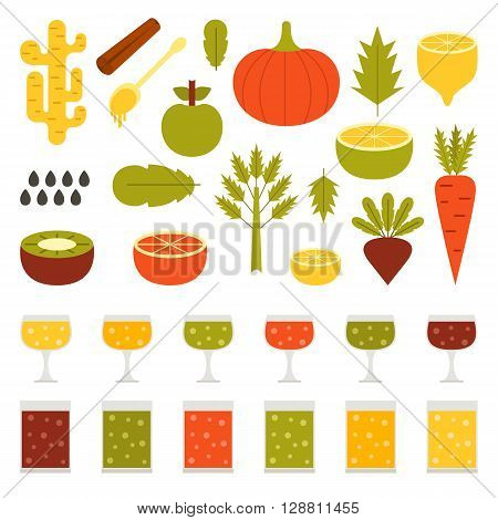 Vector illustration with ingredients for making detox smoothies. Cartoon vector flat vegetables fruits chia seeds celery. Organic vitamin diet detox smoothies. Make your own healthy vegan smoothie.