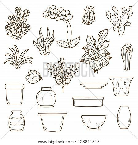 Set of cute cartoon hand drawn houseplants icons