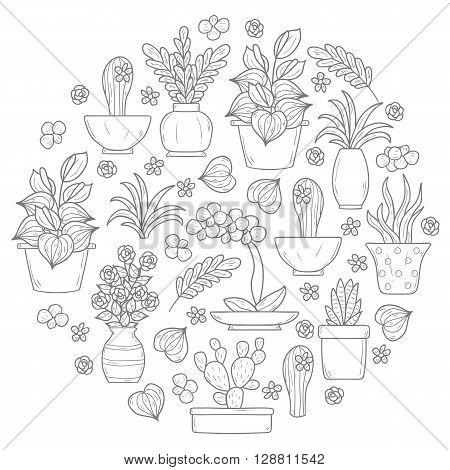 Houseplant background in circle shape with hand drawn cartoon objects