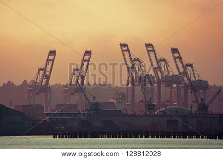 SEATTLE, WA - AUG 14: Crane Tower at sea port on August 14, 2015 in Seattle. Seattle is the largest city in both the State of Washington and the Pacific Northwest region of North America