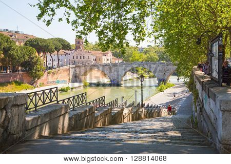 ROME, ITALY - APRIL 8, 2016:  Ponte Garibaldi bridge view at sunny day