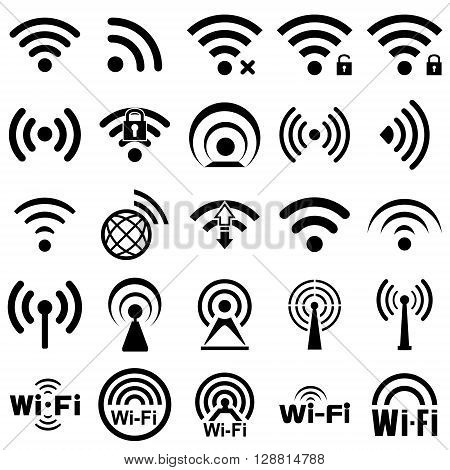 Set of twenty five different black vector wireless and wifi icons for remote access and communication via radio waves