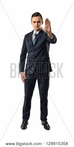 Cutout businessman showing stop hand sign. Talk to the hand. Sarcastic and obnoxious sign. Shut up. Business staff. Office clothes. Dress code. Presentable appearance.