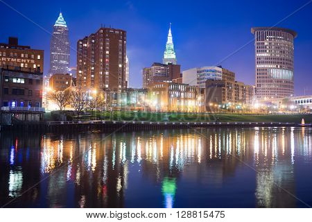 CLEVELAND - MAY 2: Cleveland Ohio Downtown City Skyline with the Cuyahoga River on May, 2 2016.