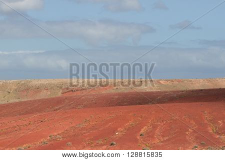 Desert arid peak stone volcanic mars landscape in Lanzarote, Canary Islands