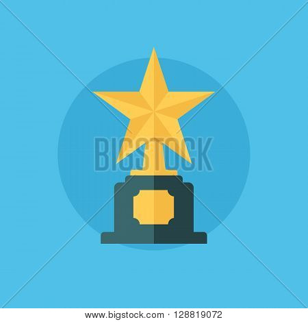 Star award. Winner concept with trophy icon. First place. Star award icon. Flat vector illustration.