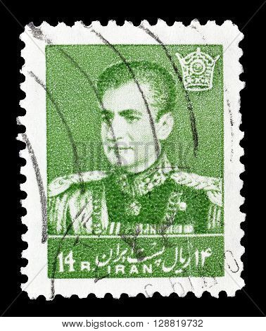 IRAN - CIRCA 1959 : Cancelled postage stamp printed by Iran, that shows Mohammad Reza Shah Pahlavi.