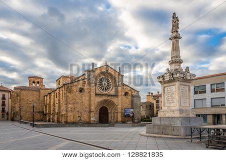 AVILA,SPAIN - APRIL 23,2016 -Church San Pedro at the Santa Teresa place in Avila . Avila is a Spanish town located in the autonomous community of Castile and Leon .